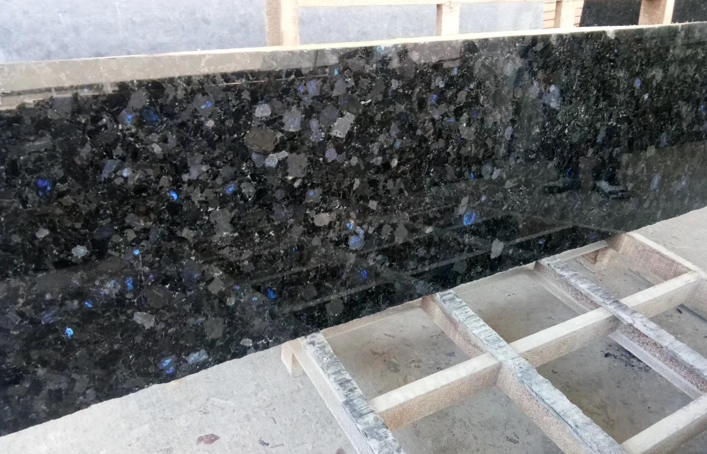 Volga Blue granite polished slabs and strips from China and Ukraine